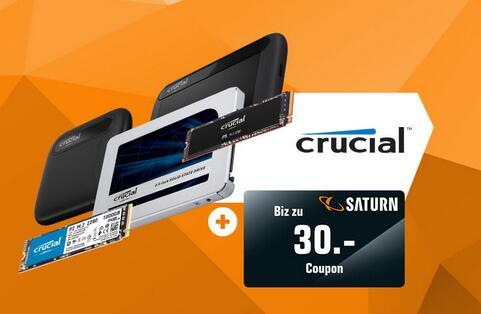 Coupon bis max. 30€ beim Kauf einer Crucial SSD | z.B. MX500 1TB 90,48€ + 15€ | P2 2TB 206,36€ + 30€ | P2 1TB 95,27€ + 25€