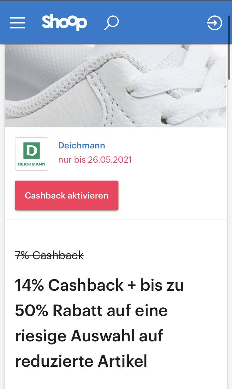 [Shoop] 14 % Cashback bei Deichmann, anstatt der üblichen 7-8%