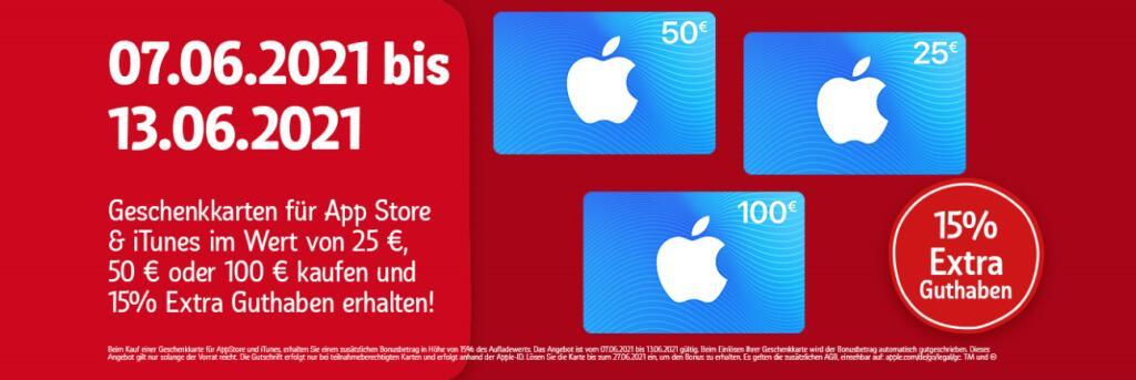 15% Extra Guthaben für Apple AppStore & iTunes Geschenkkarten [REWE-Kartenwelt]
