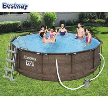 [lokal] Bestway #56709 Steel Pro MAX Pool 366x100cm, mit Filterpumpe und Leiter, Rattanoptik