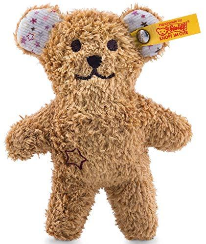 Steiff Mini Knister Teddybär mit Rassel - 11 cm - Teddybär mit Rassel - Kuscheltier für Babys - weich & waschbar - braun (240669)