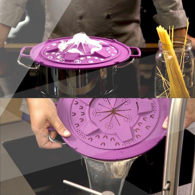Fackelmann Shop: Überkochschutz und Spritzschutz in einem, aus hochwertigem Silikon,Farbe berry, 30 cm Durchmesser