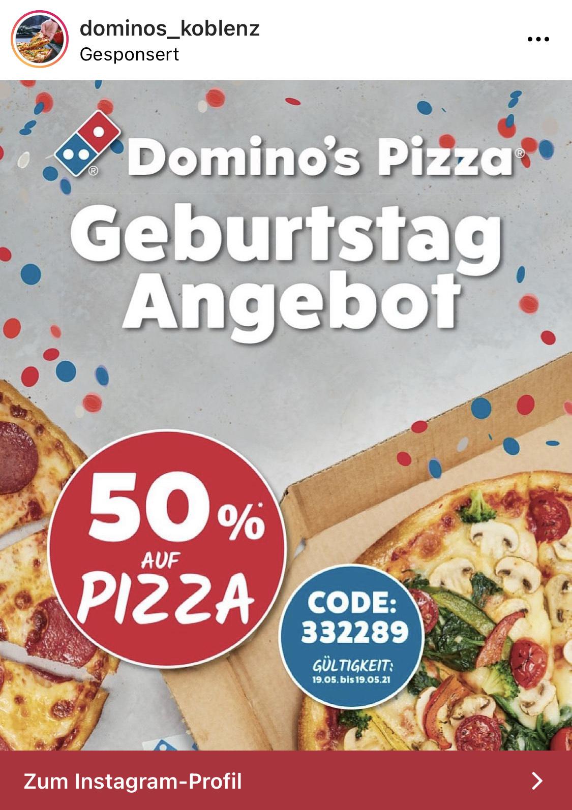 Dominos Koblenz Gutschein auf Pizza
