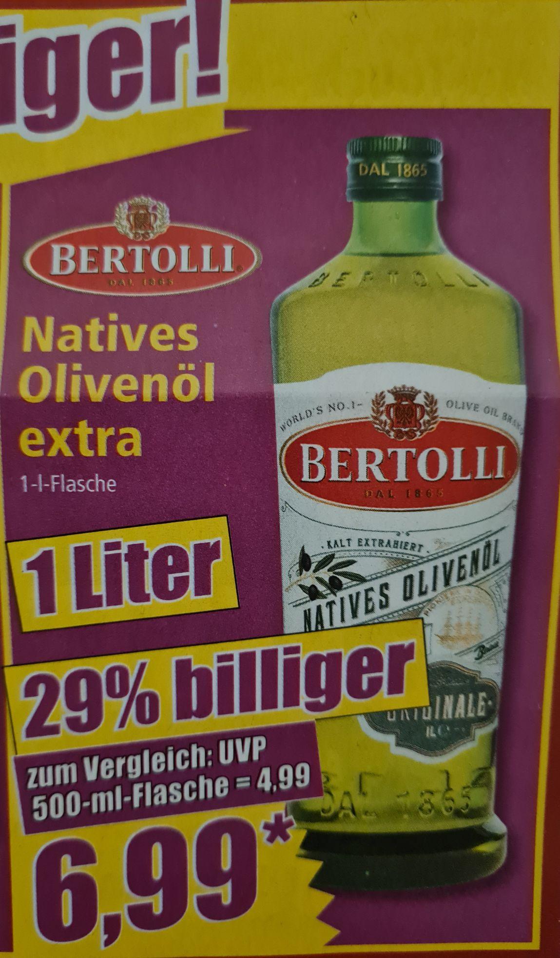 Natives Oliveöl Extra Bertolli 1 Liter für 6,99€ statt 10,99€ UND Meandros Kreta 500 ml für 3,59€ statt 5,99€ ab 25.05 Norma