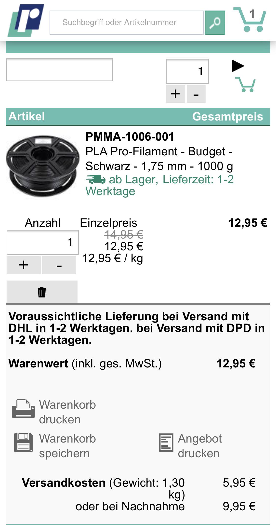 1kg Budget PLA Filament von Reichelt - 3D Drucker