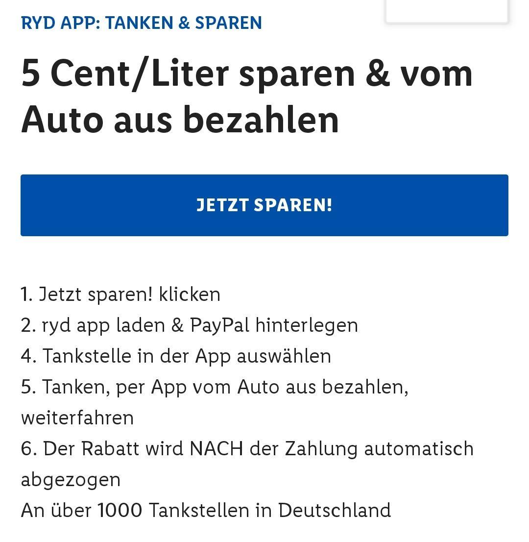 [LIDL PLUS] Ryd Neukund 5 Cent/Liter sparen auf eine Tankfüllung (max. 80l) bei Zahlung mit RYD Pay bis 08.06