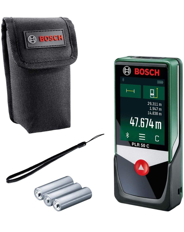Bosch Laser Entfernungsmesser PLR 50 C Messbereich: 0,05 – 50 m, Touchscreen-Display, in Kartonschachtel