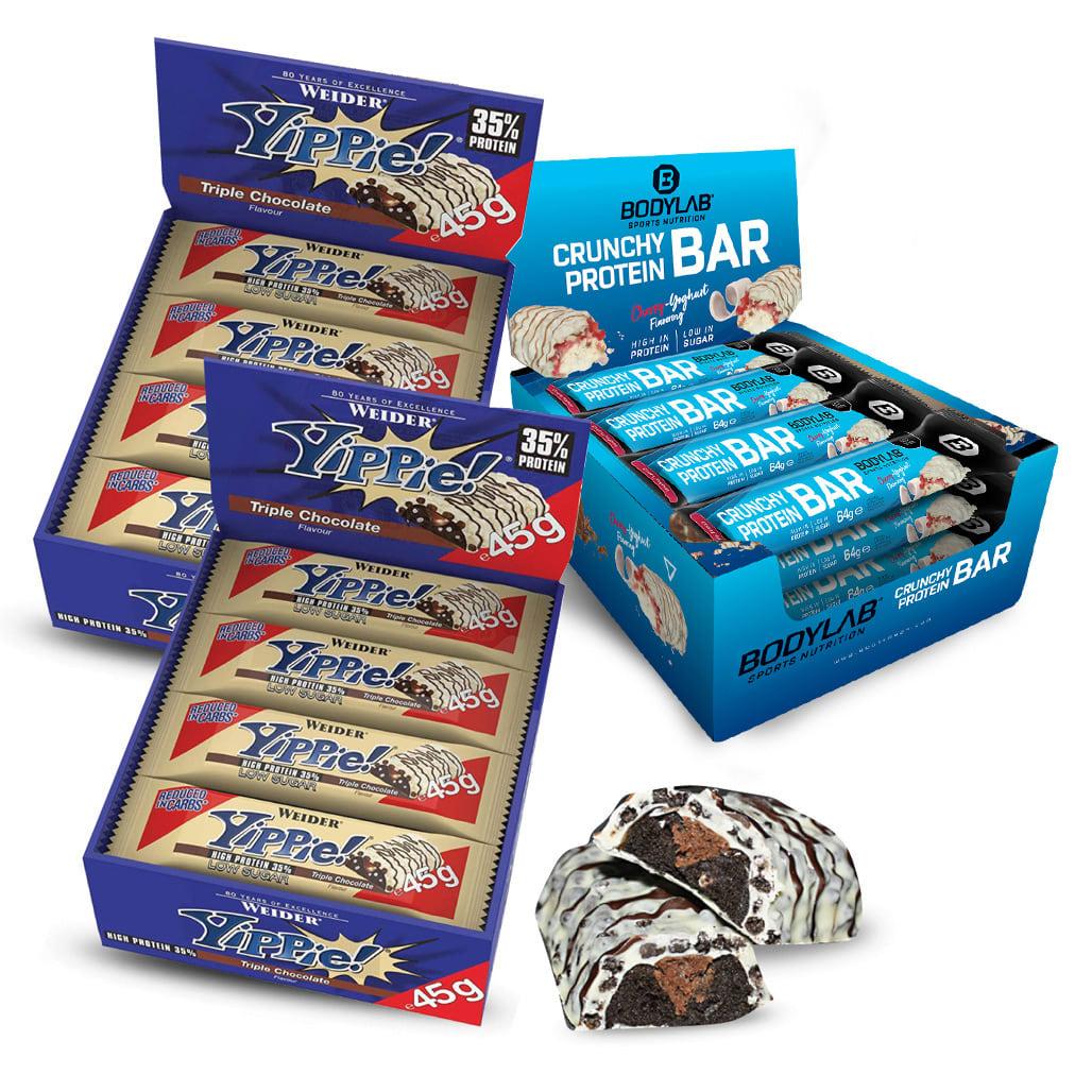 Riegel-Paket: 24x 45g Weider Yippie! Bar (Triple Chocolate, MHD 30.06.) + 12x 64g Bodylab Crunchy Protein Bar (4 Sorten, normales MHD)