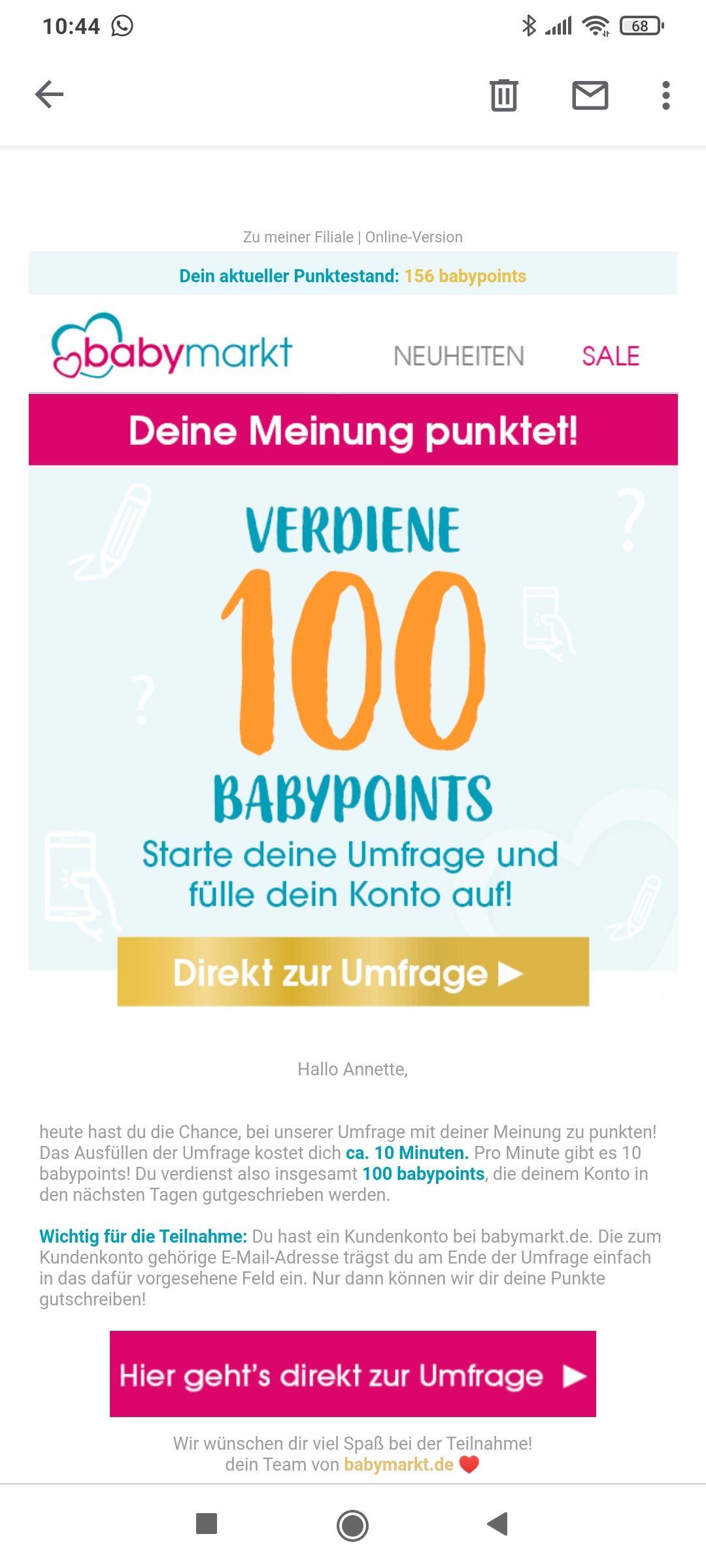 Babymarkt Umfrage 100 Babypoints