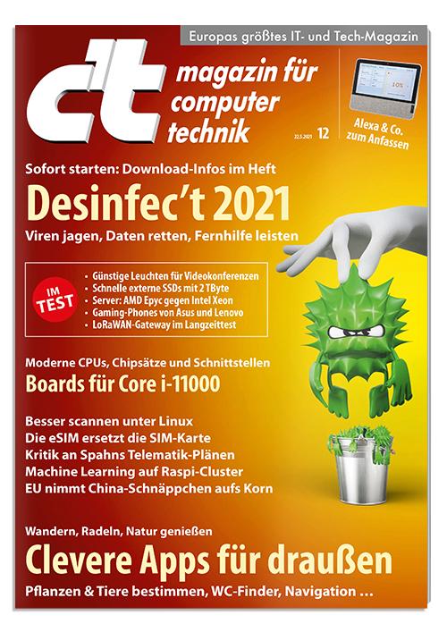[Heise] 6 Ausgaben c't inkl. c't Desinfect 2021 Software + 15 € Amazon-Gutschein + c't Sonderheft Daten Schützen für 22,50 €