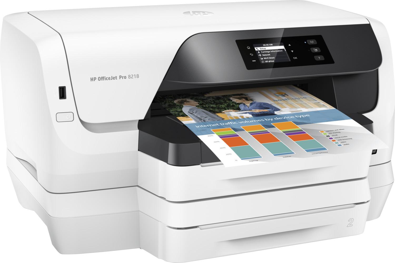 HP OfficeJet Pro 8218 Tintenstrahldrucker (A4, 20/16 S/min, 500 Blatt, Duplex, LAN, WLAN, USB, Touch-Display, Instant Ink, 3J Garantie)