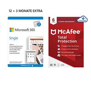 Microsoft 365 Single 12+3 Monate Abonnement | 1 Nutzer | Mehrere Geräte | Download Code + McAfee Total Protection 2020