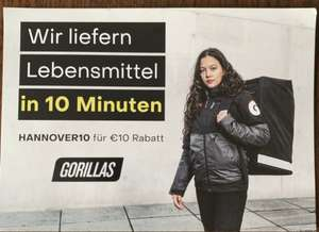 [ab 20.5]10€ Rabatt bei Gorillas Hannover
