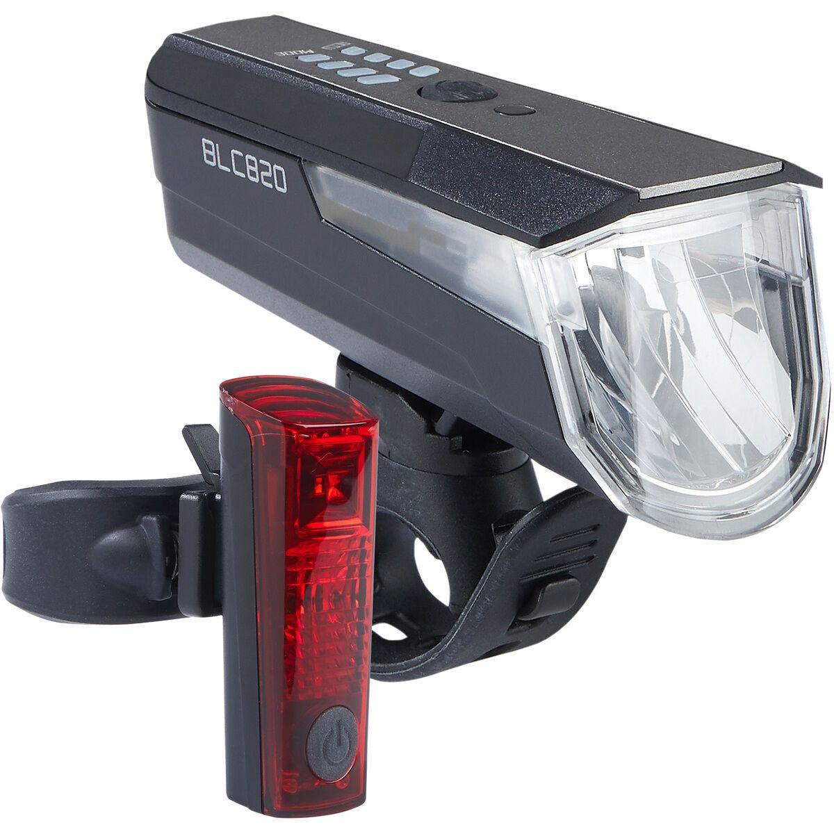 """BÜCHEL Beleuchtungs Set """"LED Akkuleuchtenset BLC 820 + Duo LED"""", 3 Beleuchtungsstufen, inkl. Fahrradhalterung"""