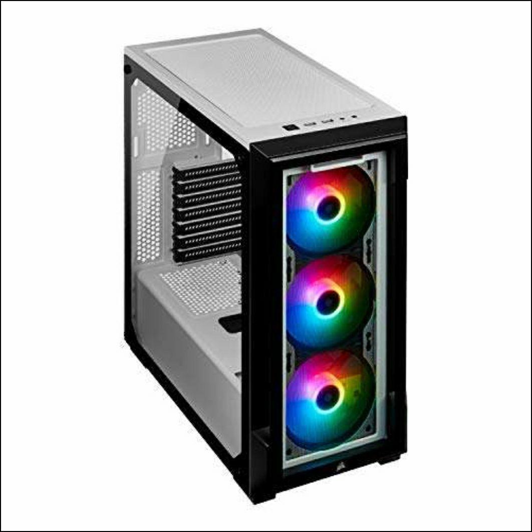 Corsair iCUE 220T RGB, Gehärtetem Glas Mid-Tower ATX Smart-Gehäuse - Weiß
