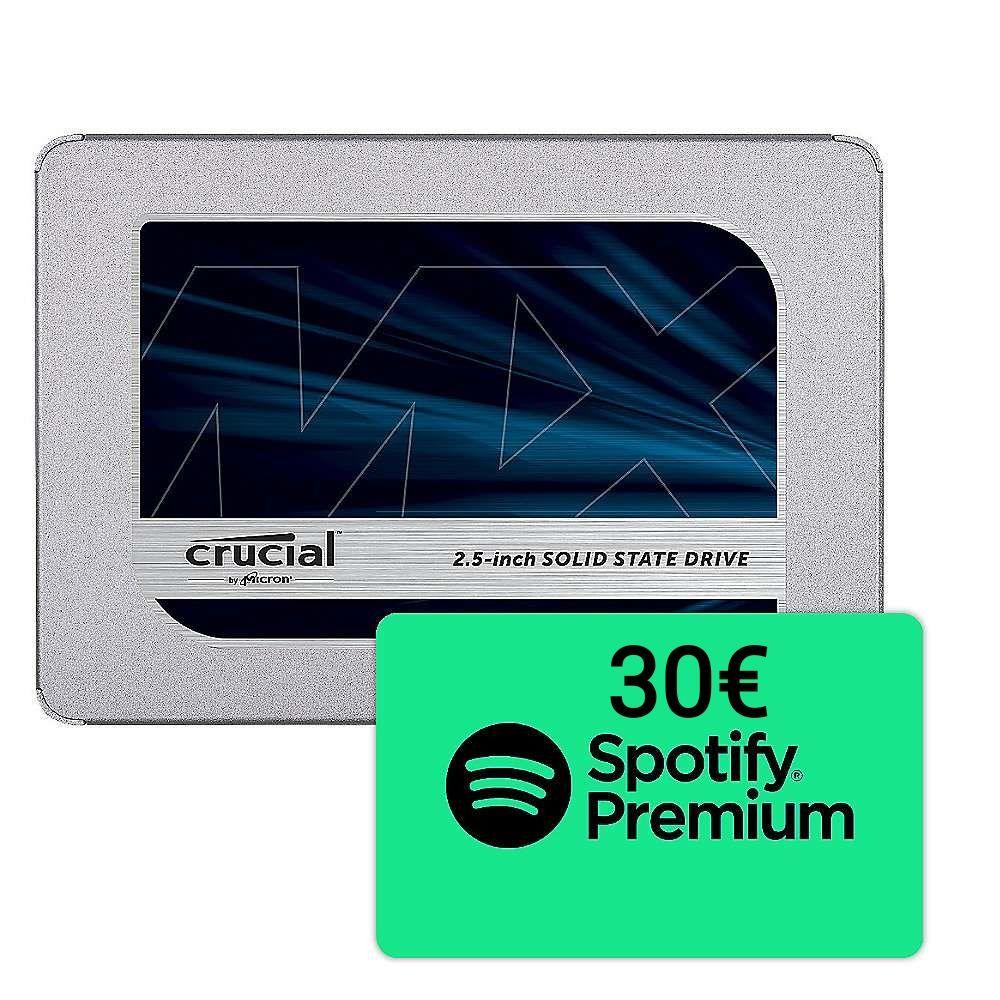 Crucial MX500 1TB SSD inkl. 30€ Spotify Premium
