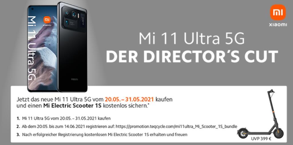 """[Vorbesteller] Mi Scooter 1S zum Xiaomi Mi 11 Ultra (6,81"""" WQHD+ AMOLED 120Hz, 234g, 12/256GB, SD888, NFC, Dual-SIM, IP68, Qi, 5000mAh, 67W)"""