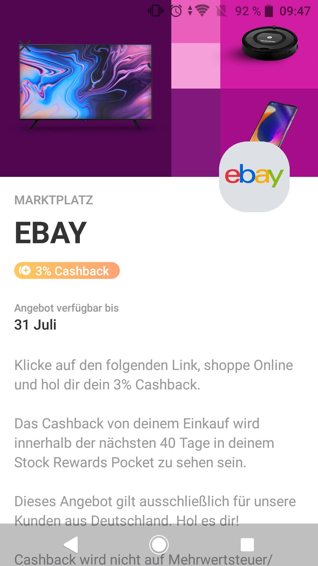 3% cashback bei ebay.de über vivid bis 31.07.2021 über Prime Deals