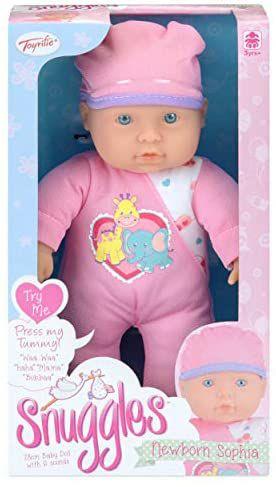 Snuggles Baby-Puppe, interaktive sprechende Weichkörperpuppe Sophia, 6 Wörter und Geräusche, 28 cm groß [Amazon Prime]