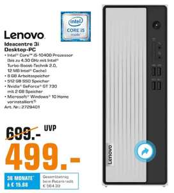 Lenovo Ideacentre 3i: i5 -10400, 8GB Ram, 512 GB SSD, GT 730, Win 10
