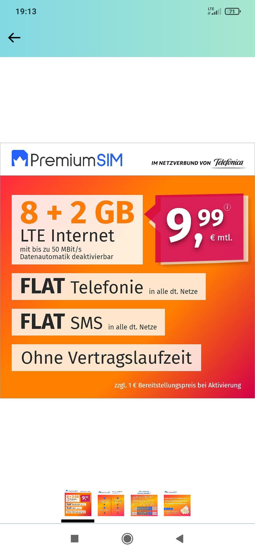 Premiumsim LTE Internet 10GB plus Telefon & SMS Flat für 10€ monatlich, 3 Monate Kündigungsfrist, Bereitstellungspreis 10€ (inkl.Versand)