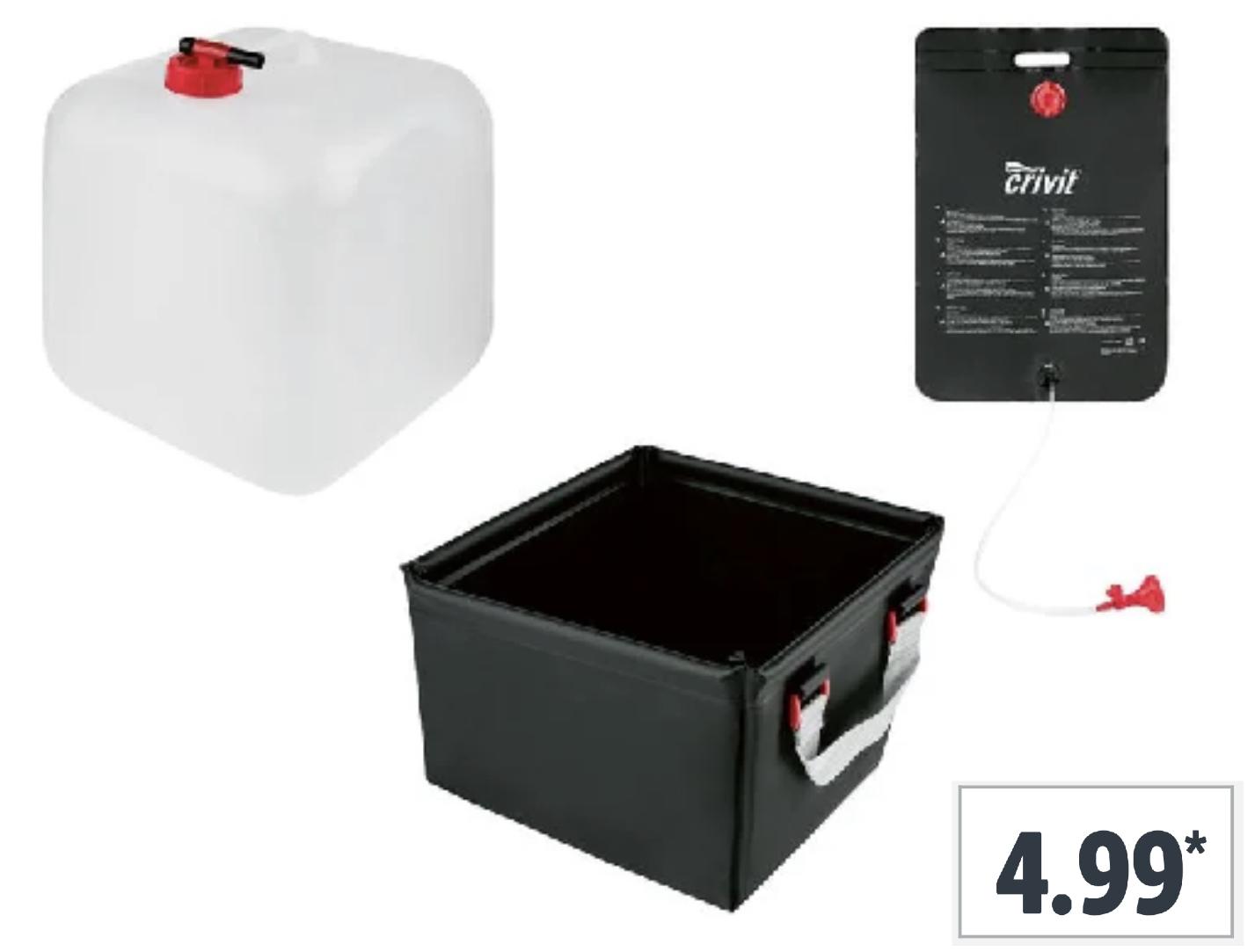 Faltbarer Wasserkanister 20 Liter / Campingspüle 10 Liter / Campingdusche 25 Liter für je 4,99€ usw.