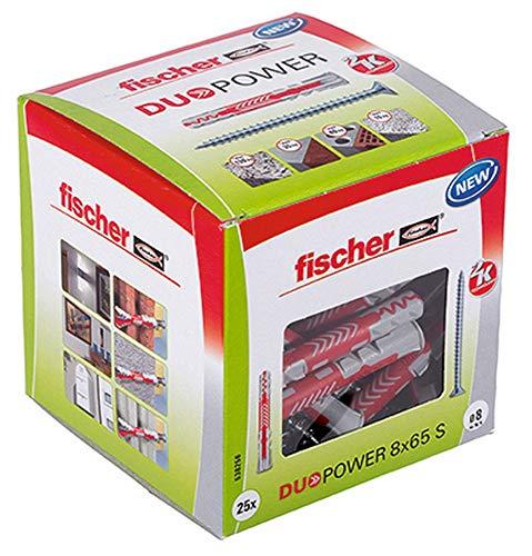 25 x Fischer DuoPower 8x65 Universaldübel mit Sicherheitsschraube [Prime]