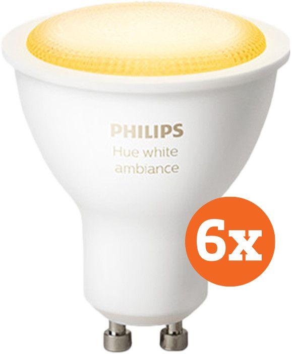 Philips Hue 6x GU10 White Ambiance - ZigBee + Bluetooth - alle Weißtöne - dimmbar - 350 Lumen