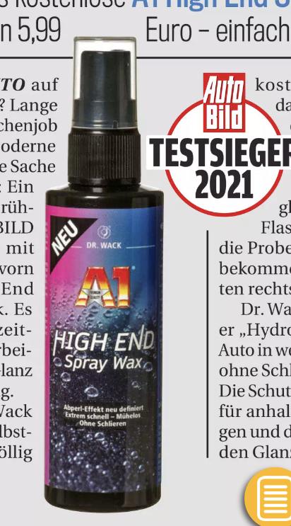 (Auto Bild & ATU) Dr. Wack A1 High End Spray Wax 100ml gratis / 3€ Rabattfür 500ml