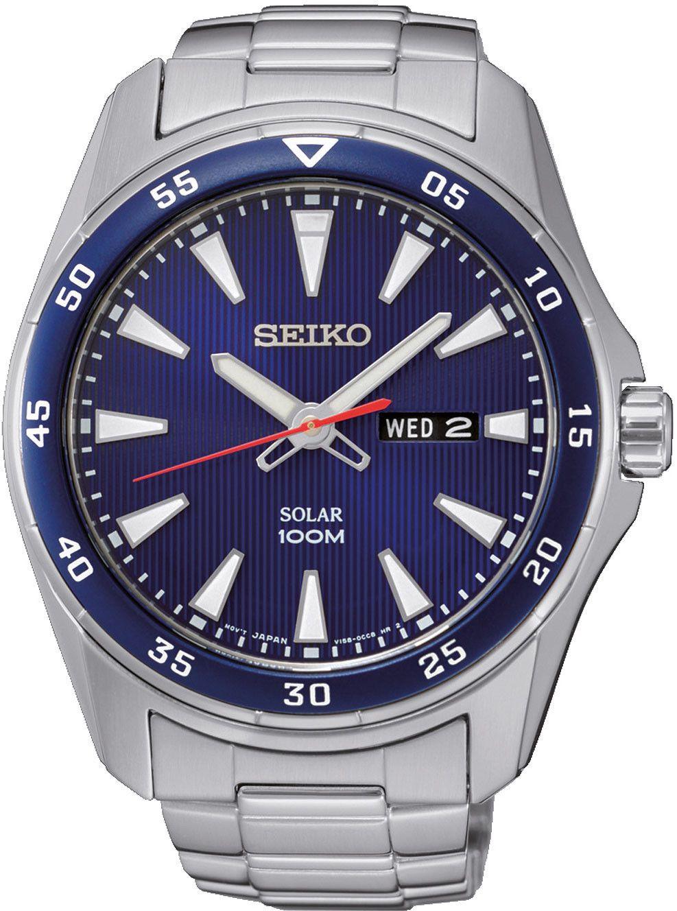 Seiko SNE391P1 Solar-Uhr (43 mm, Edelstahl, Hardlex Glas, LumiBrite, Datumsanzeige, wasserdicht bis 10 bar) Dunkelblau