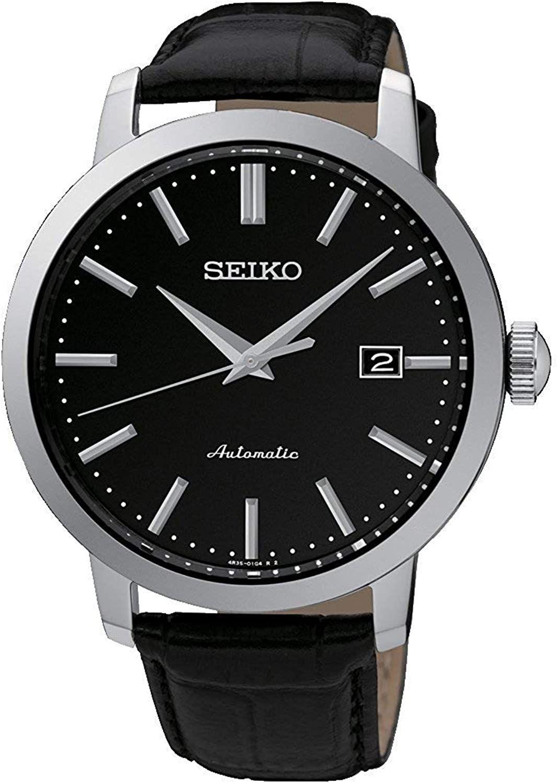 Seiko SRPA27K1 Automatik-Uhr (42 mm, 4R35 Uhrwerk, Edelstahl, Lederarmband, Hardlex, Glasboden, Datumsanzeige, wasserdicht 10 bar) Schwarz
