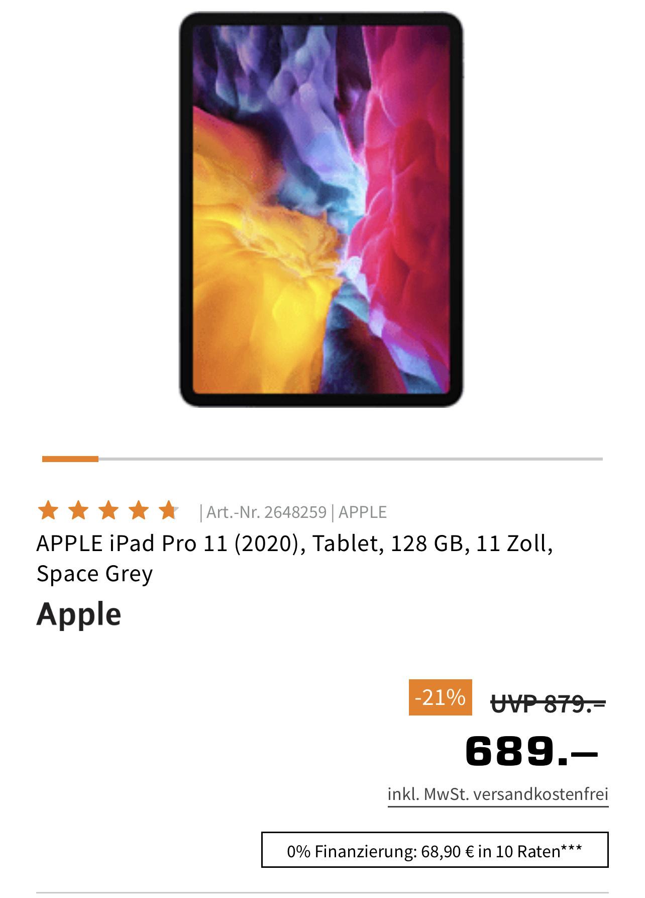 APPLE iPad Pro 11 (2020), Tablet, 128 GB, 11 Zoll, Space Grey