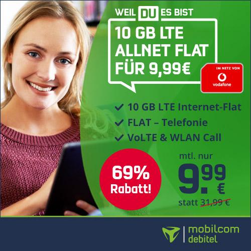[Vodafone-Netz] 10GB green LTE Tarif für mtl. 9,99€ von mobilcom-debitel (Allnet-Flat, VoLTE, WLAN Call)