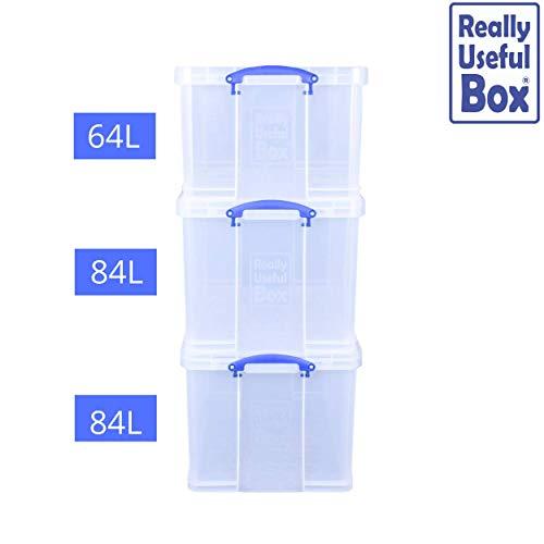Really Useful Aufbewahrungsboxen 3er-Pack 2 x 84 Liter + 1 x 64 Liter farblos (Prime)