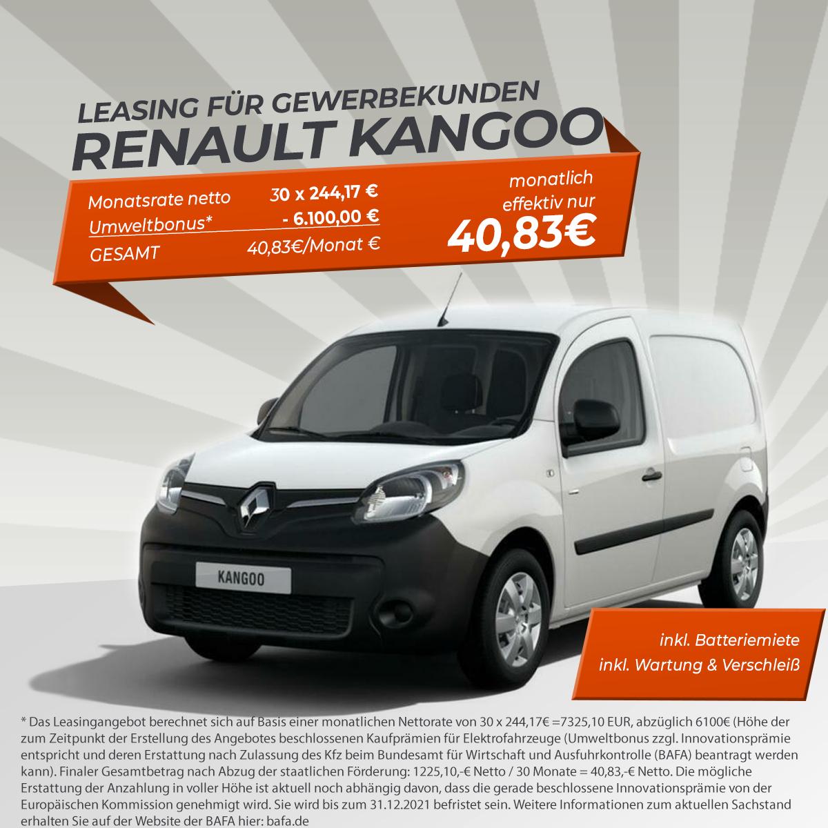 (Gewerbeleasing) Renault Kangoo Z.E. inkl Batterie, Wartung & Verschleiß, 30 Monate 10tkm, eff. 62,49€ mtl. | 230km el. Reichweite, LF 0,12
