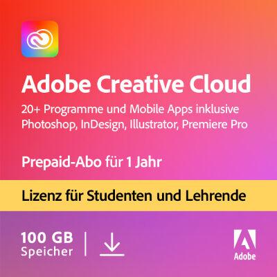 1 Jahr Prepaid-Abo Adobe Creative Cloud [Student & Teacher]