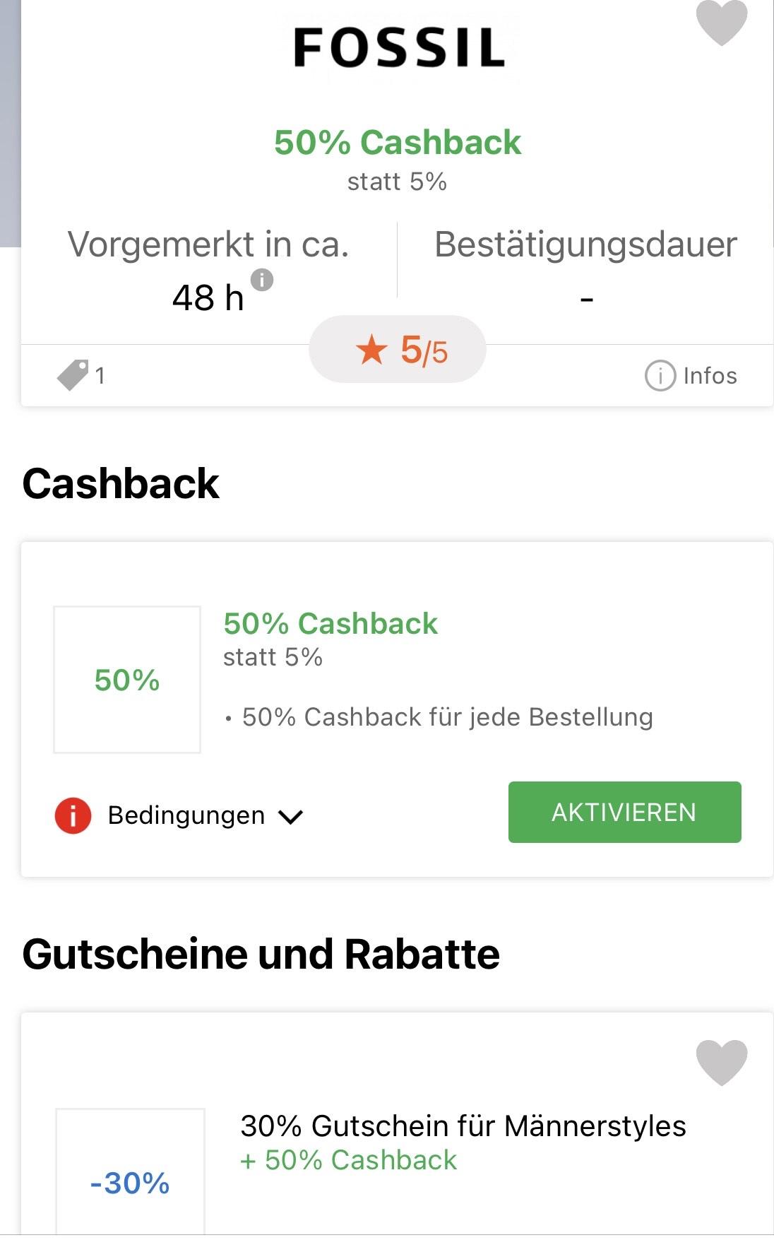 iGraal Cashback Fossil 50%