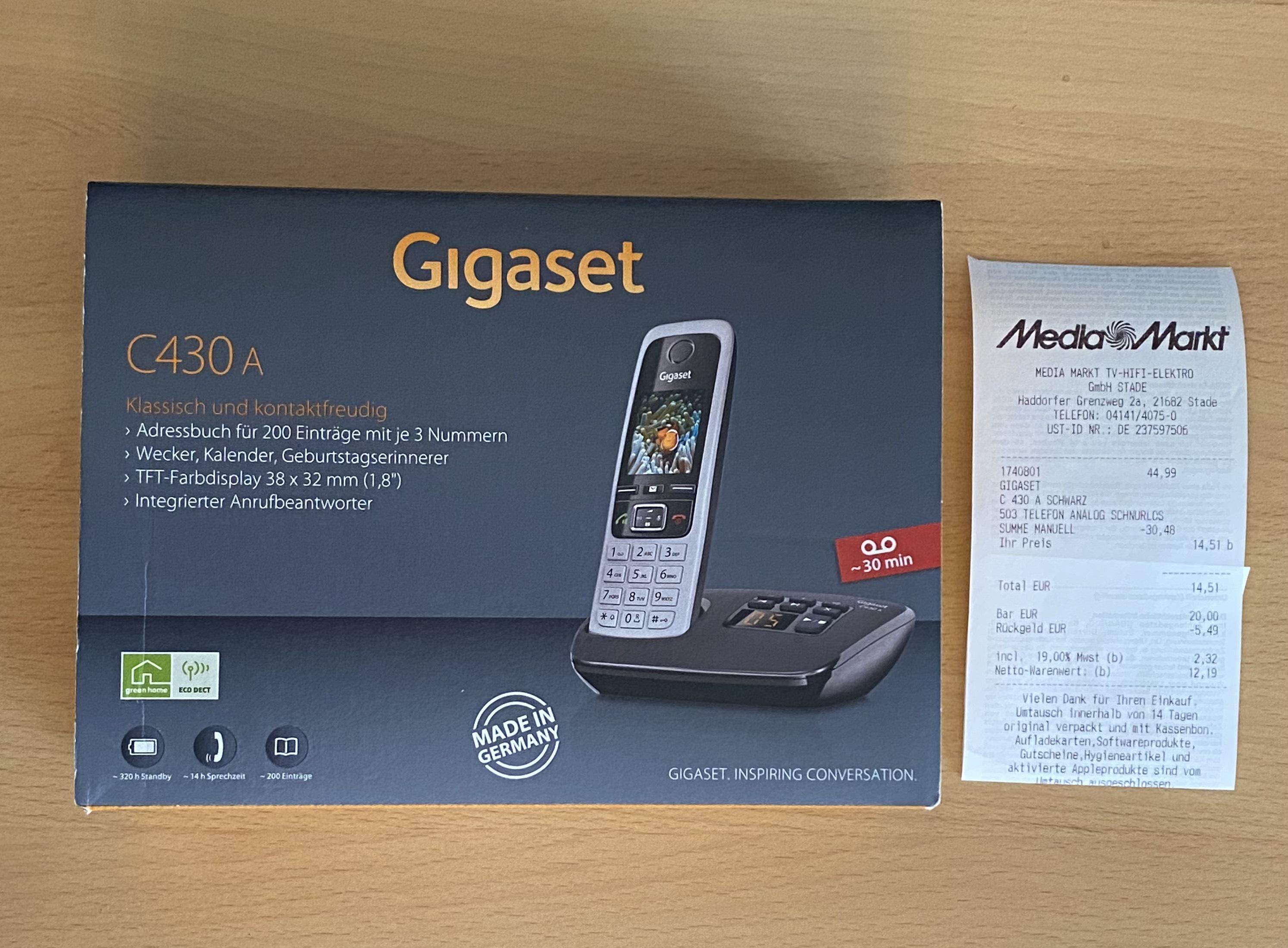 Gigaset C 430 A - Schnurloses DECT Telefon mit Anrufbeantworter [Lokal Stade, Versand auf Anfrage]