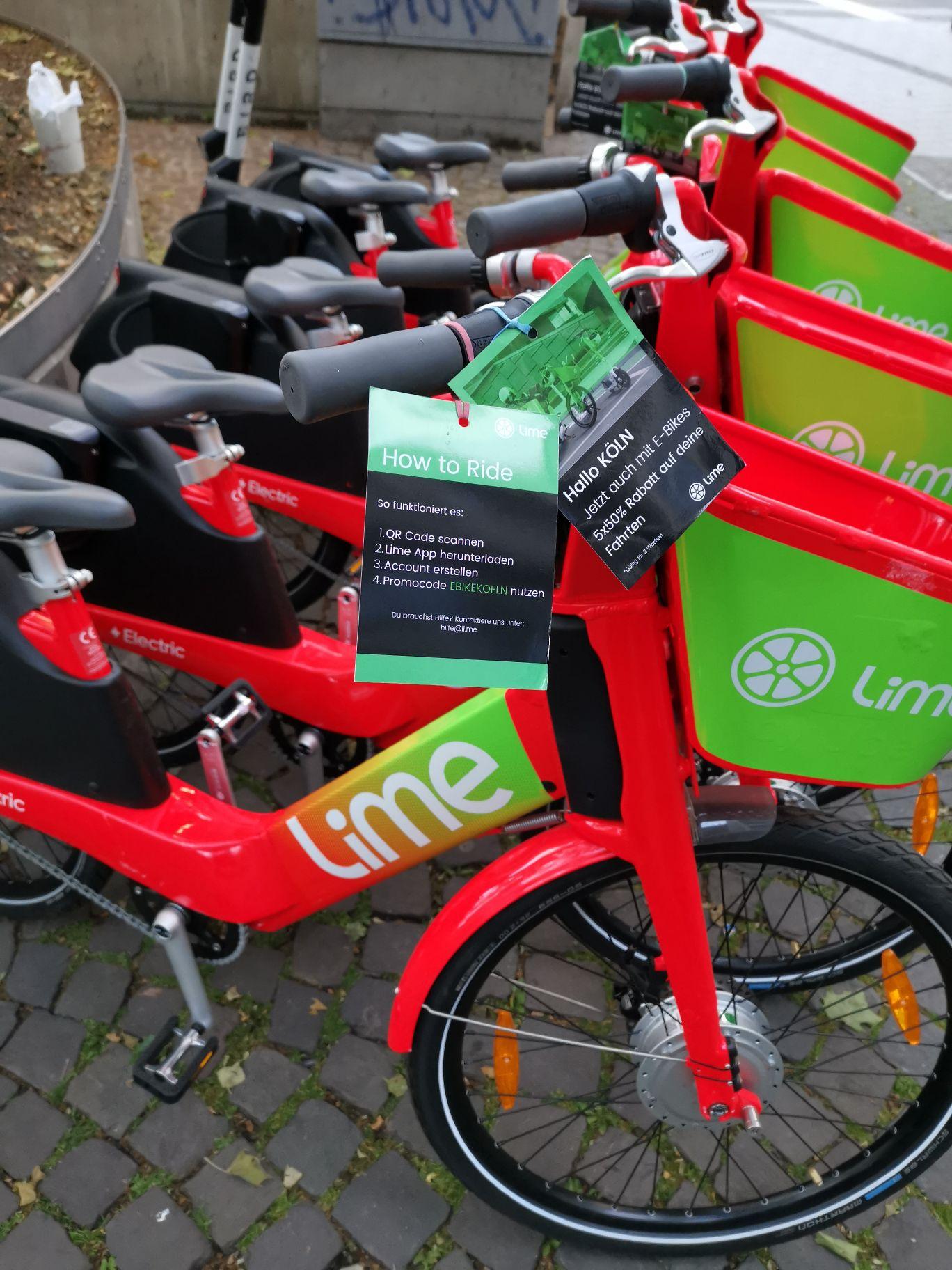 [Lokal KÖLN] Lime E-BIKE 5*50% Rabatt für alle Neu- und Bestandskunden.