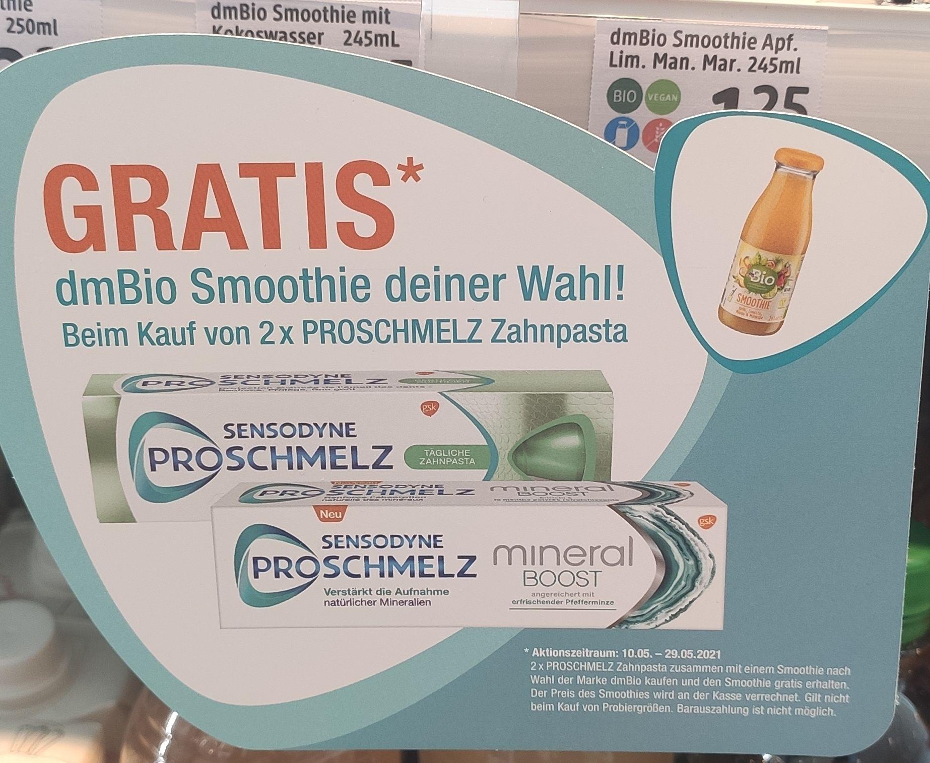 [dm] 2x Sensodyne Pro Schmelz Zahnpasta kaufen und dmBio Smoothie gratis dazu