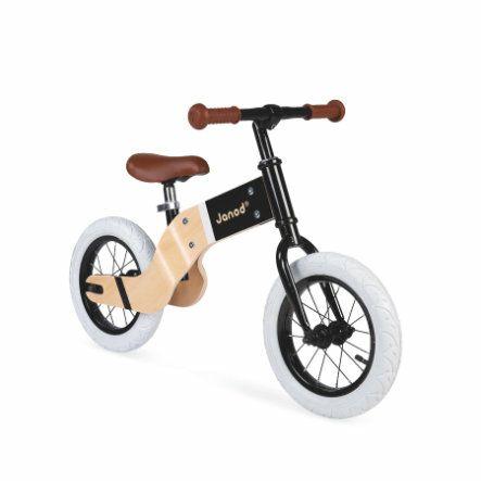 Janod Laufrad Deluxe, Holz/Metall, aufblasbare Reifen, Sitzhöhe 38-46 cm, Farbe natur/schwarz [babymarkt.de]