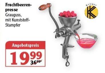 Krüger Fruchtbeerenpresse, Grauguss mit Kunststoff Stampfer ab 25.05 Globus