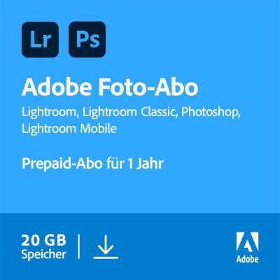 NBB: Adobe Creative Cloud Foto-Abo mit 20GB Cloudspeicher | Photoshop und Lightroom | 1 Jahreslizenz