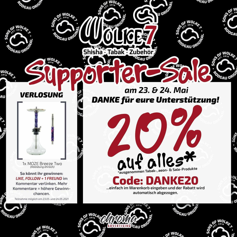 Wolke7shisha shop bietet 20% auf ausgenommen auf tabak und aeon peoduke