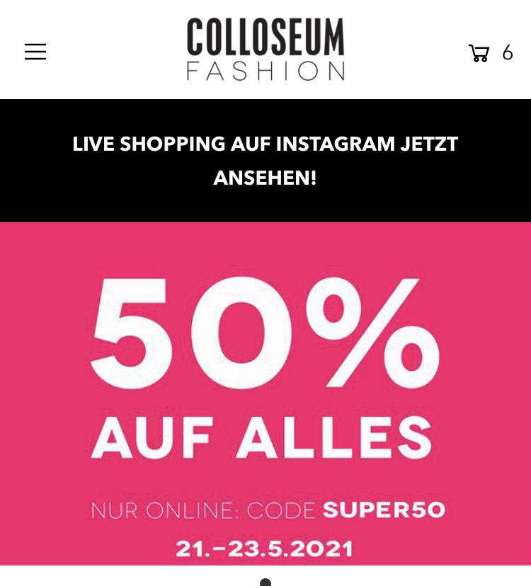 Colloseum store 50% Rabatt auf alles mit Code