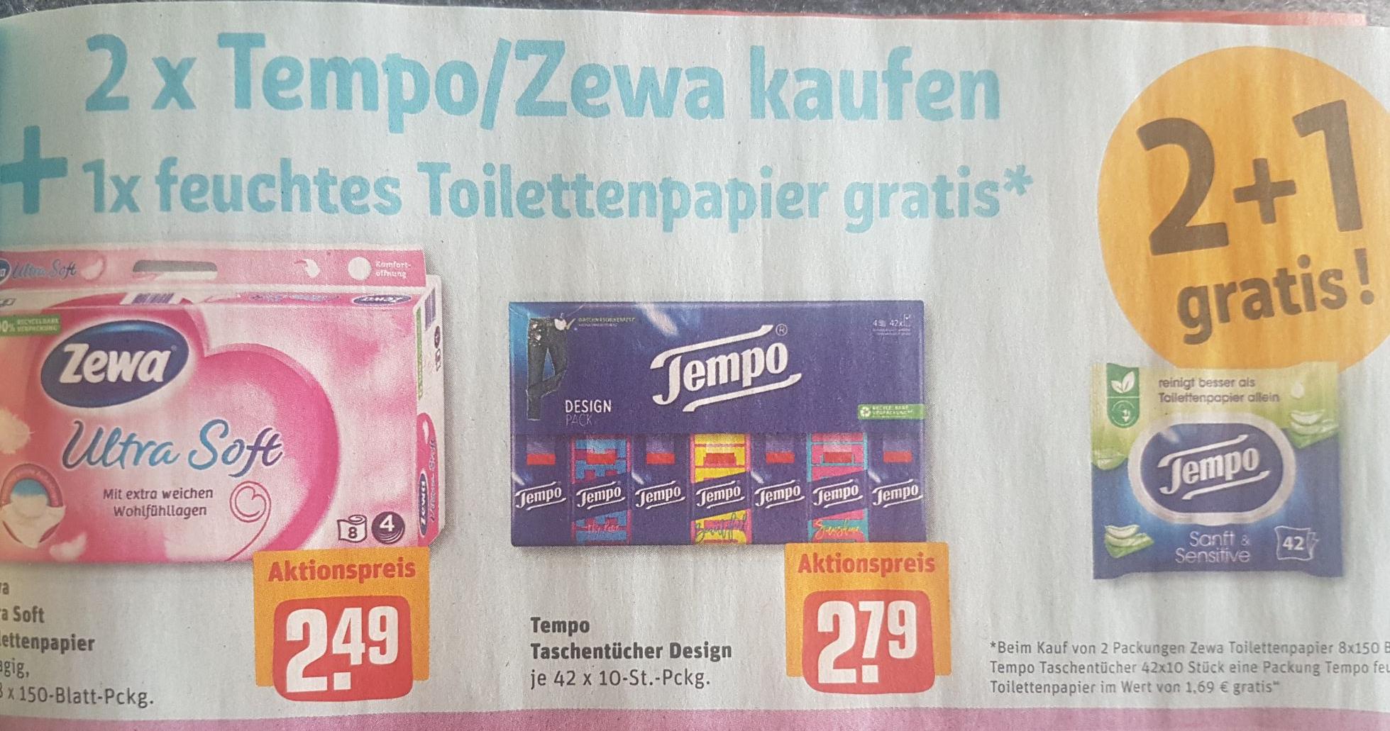 [REWE] 1x Feuchtes Toilettenpapier gratis beim Kauf von 2 Zewa/Tempoprodukten