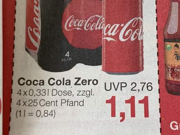 Coca Cola Zero 4 Dosen 0,33 Liter