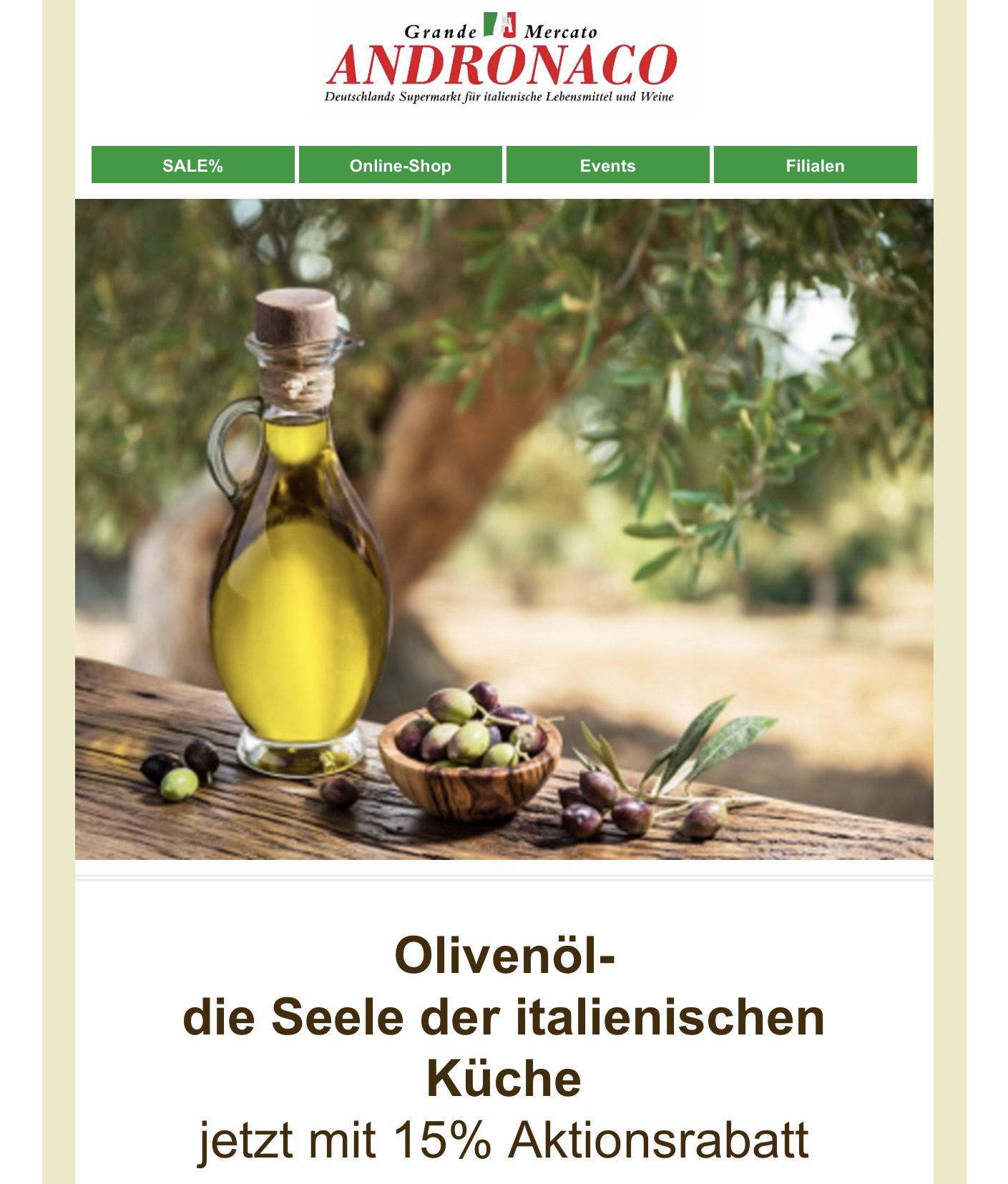 15% Rabatt auf Olivenöl + Balsamessig bei Grande Mercato ANDRONACO (online)