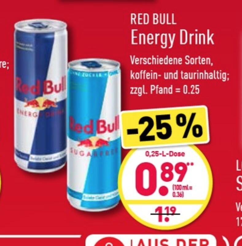 RED BULL normal und sugarfree für 0,89€ bei Aldi Nord (ab 31.05.)