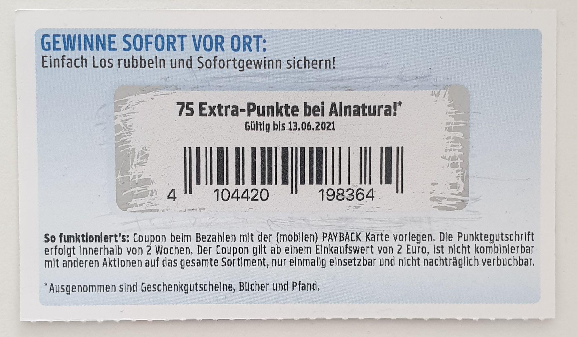 Payback Alnatura 75 Extra Punkte ab 2€ Einkauf